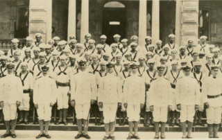 Hawaii Naval Militia, early 1917 on steps of 'Iolani Palace